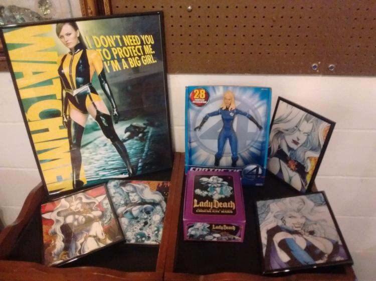 COMIC LOT TO INC. FRAMED WATCHMEN POSTER, NEVER OPENED - INVISIBLE WOMAN FIGURE & LADY DEATH FRAMED PHOTOS & BOX