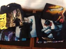 LARGE LOT OF 9 COMIC BOOK T-SHIRTS - VINTAGE ALL EXTRA LARGE, BATMAN, JOKER, WATCHMAN, IRONMAN, ETC.