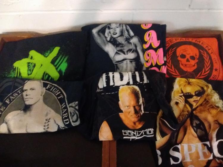LOT OF 6 VINTAGE X-L WWE T-SHIRTS - SABLE, SUNNY, SANDMAN, DX, ETC.