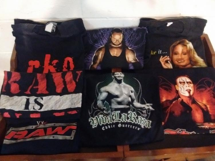 LOT OF 7 VINTAGE WRESTLING T-SHIRTS, SUNNY, STING, UNDERTAKER, ETC.