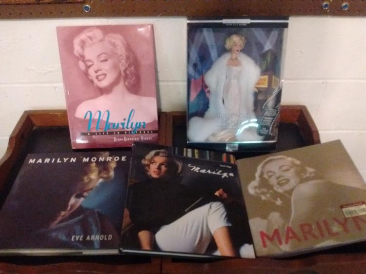MARILYN MONROE LOT TO INC. 4 HARD COVER BOOKS & BARBIE COLLECTOR EDITION HOLLYWOOD PREMIER - UNOPENED