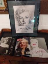 MARILYN MONROE LOT TO INC. FRAMED HAIYAN PRINT OR DRAWING SIGNED, LIFE MAGAZINE & 2 NICE HARDCOVERS