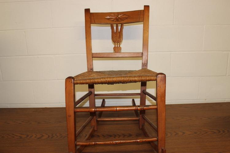 EARLY COUNTRY HAND MADE ROCKER W/ RUSH SEAT - MAPLE, ASH, & OAK - 31