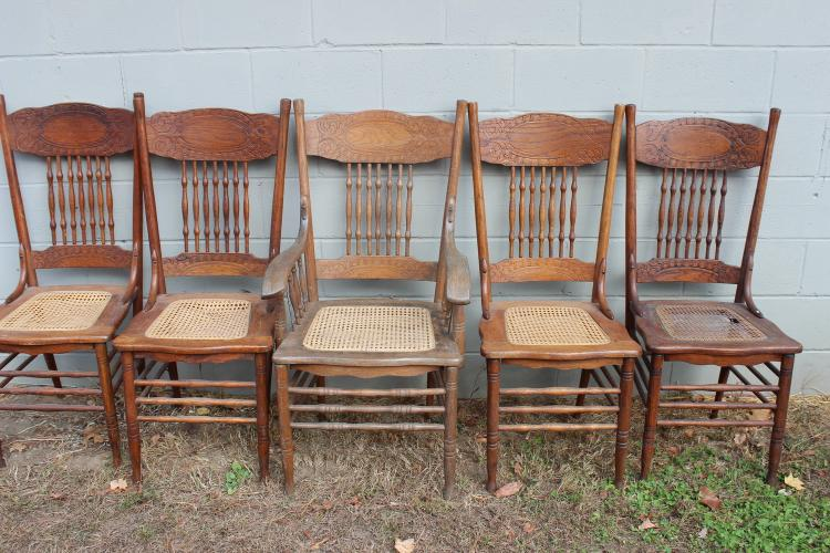 SET OF LARKIN SPINDLE BACKS TO INCLUDE CAPTAINS CHAIR - SOME CANE DAMAGE - ARRANGE PICKUP
