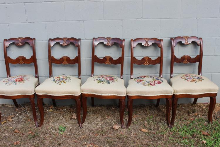 BEAUTIFUL SET OF 5 VICTORIAN CROTCH MAHOGANY CHAIRS W/ NEEDLEPOINT SEATS - EXC. COND