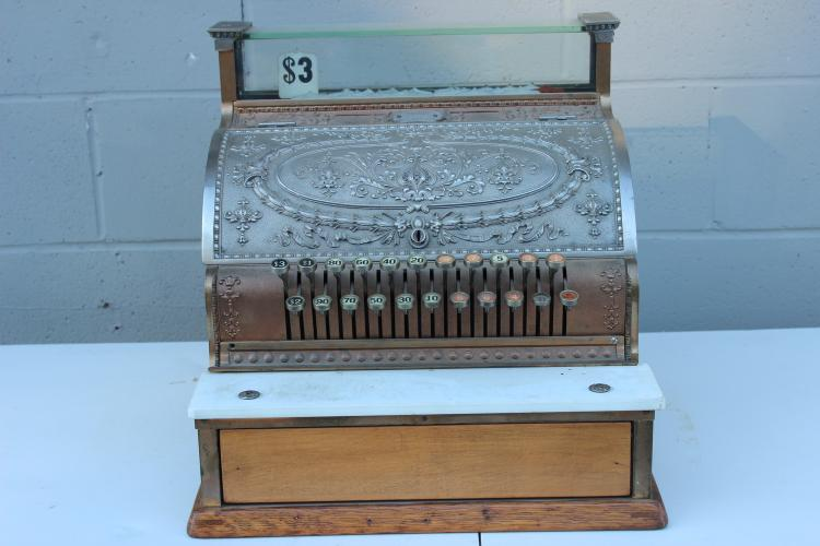 NATIONAL CASH REGISTER - WORKS GREAT - VERY ORNATE - #836645 - WHITE & YELLOW BRASS 332 - 17