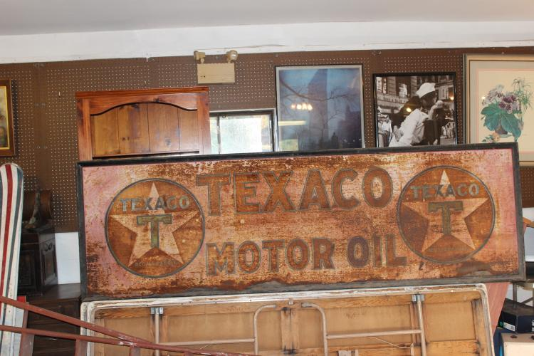 OLD TIN TEXACO GAS SIGN - ONE SIDED, SOME RUST BUT VERY READABLE - 107