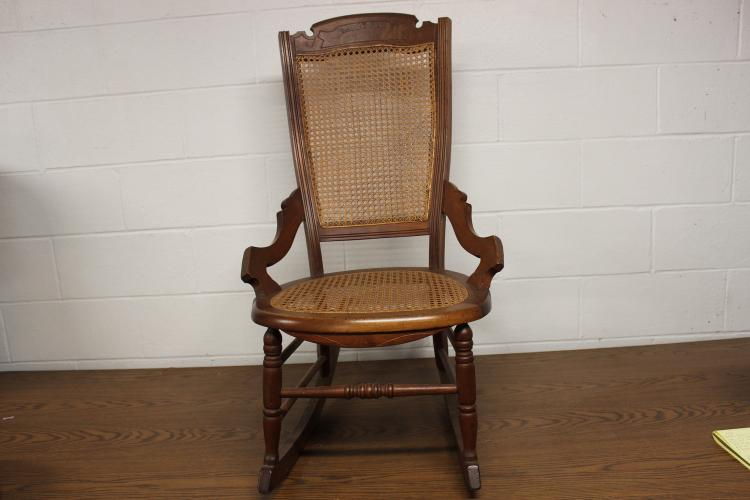 BEAUTIFUL LADIES CARVED WALNUT NURSING ROCKER W/ CANE BACK & SEAT - EXC. COND