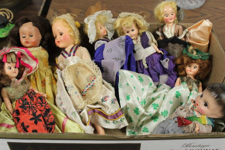 BOX LOT OF 8 VINTAGE DOLLS - ALL VERY GOOD COND.