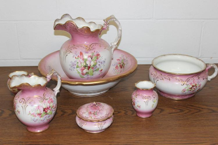 7 PIECE WASH BOWL AND PICTURE SET MARKED BONITA V.P. CO. - SMALL PITCHER HAS REPAIR THE REST EXC CONDITION