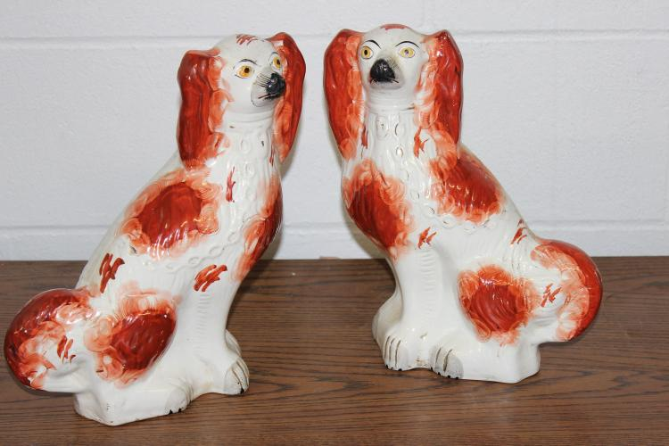 2 MID-19TH CENTURY STAFFORDSHIRE SPANIEL DOGS - BEAUTIFUL RED BLACK NOSE - EXC. COND. 12
