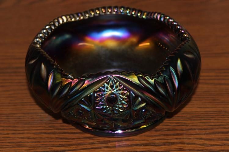 UNUSUAL BLUE AND PURPLE CARNIVAL BOWL SIGNED S ON BOTTOM - MINT 7.5