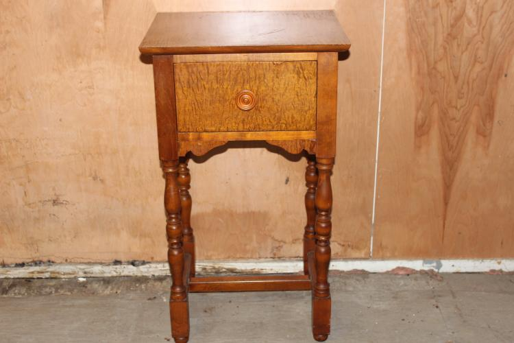LOVELY 1 DRAWER SEWING STAND IN TIGER MAPLE 29 X 17 X 14