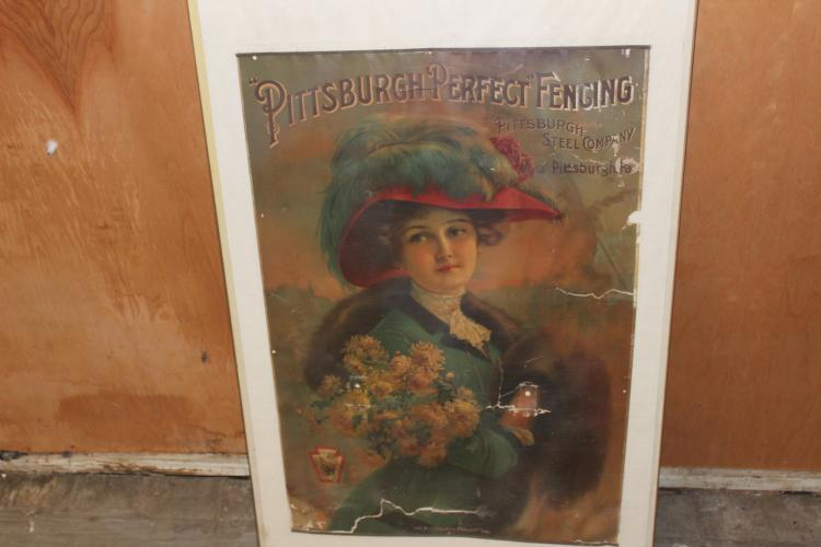 GREAT PIECE OF EARLY ADVERTISING OF PITTSBURGH STEEL CO. - FRAMED, SOME DAMAGE AS PICTURED - 29.5