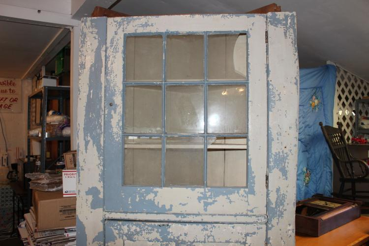 APPROX. 1780 CORNER CUPBOARD REMOVED FROM LOCAL HOME - HAS BEEN REPAINTED OVER THE YEARS - EXC. COND. FOR AGE - 83