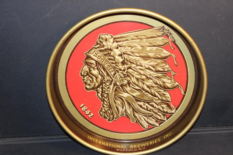 SUPER CONDITION - THIS IROQUOIS INDIANHEAD BEER TRAY NEAR MINT GREAT DETAIL ALL ORIGINAL BY CANCO