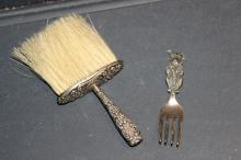 2 NICE PIECES OF STERLING - EARLY CRUMB BRUSH - MINIATURE FORK SIGNED DOOGIE