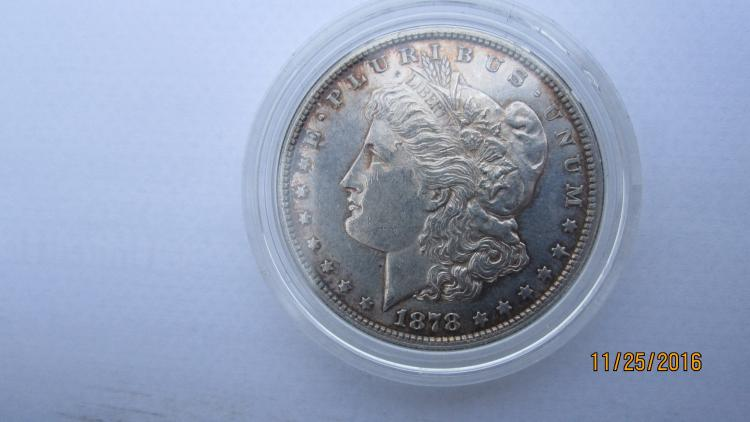 GREAT 1878-S SILVER MORGAN DOLLAR IN AU COND. - THIS IS VERY FIRST YEAR OF MORGAN DOLLARS IN CASE