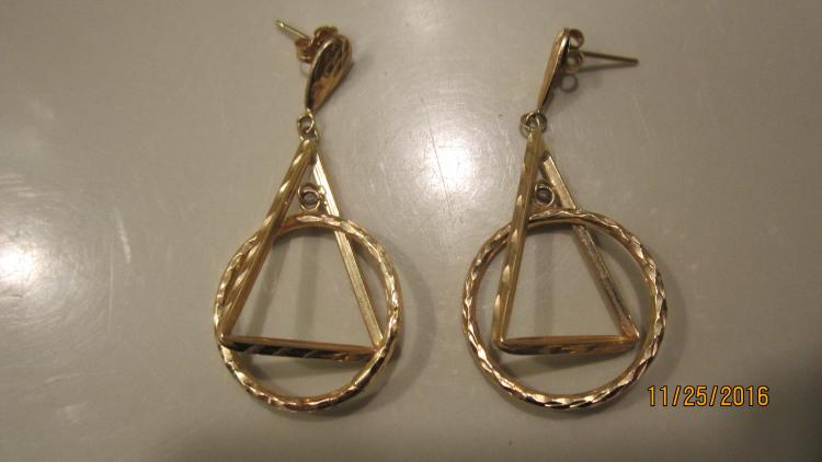 14 K YELLOW GOLD UNUSUAL EARRINGS EXC. COND