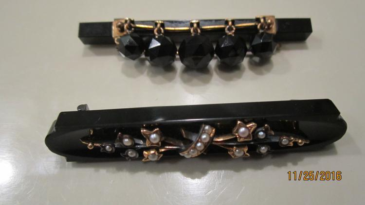 2 UNUSUAL BLACK ONYX BAR PINS WITH GOLD WORK AND ONE WITH PEARLS EXC. COND