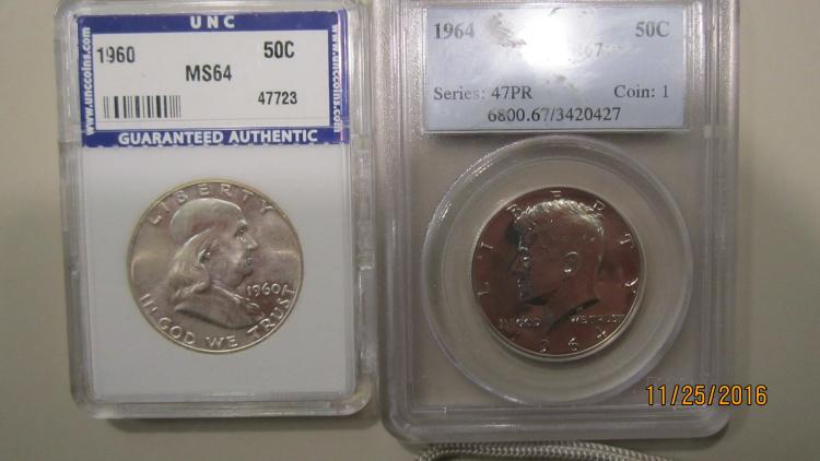 1964 PR 67 SILVER HALF-DOLLAR AND MS 6419 60 SILVER FRANKLIN HALF