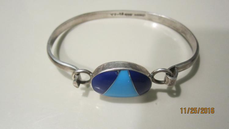 SILVER MEXICO PINCH BRACELET WITH TURQUOISE AND LAPIS - EXC. COND