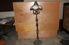VERY ORNATE TALL FLOOR LAMP WITH SIX PANEL CARAMEL BOWED SLAGGING GLASS 65