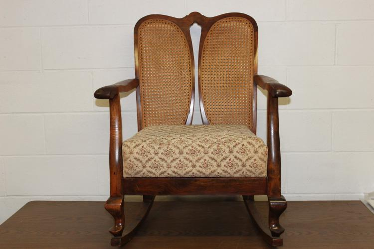 NICE MAPLE AND MAHOGANY FIRESIDE ROCKER WITH HIS AND HERS CANE BACK - IN EXC. COND