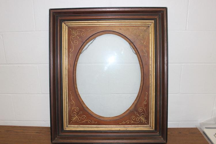 DEEP WALNUT FRAME WITH GUILTED TRIM AND CURVED INSET - EXC. COND 30 X 26 X 4