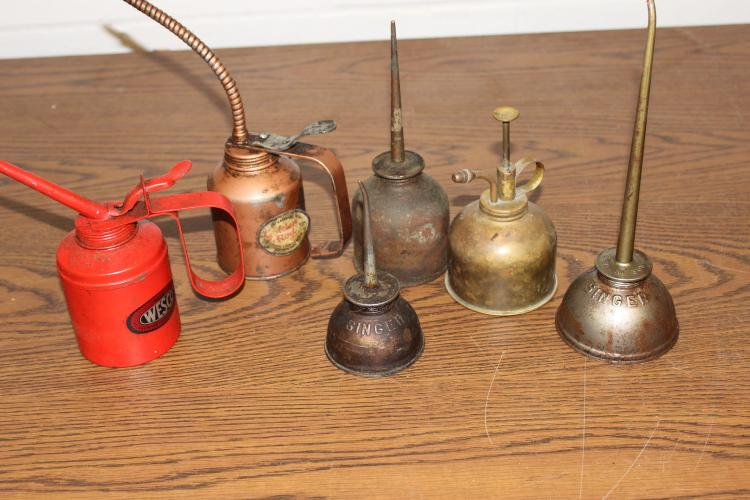 SIX OLD OIL SQUIRT CANS- WESCO, SINGER, GOLDENROD