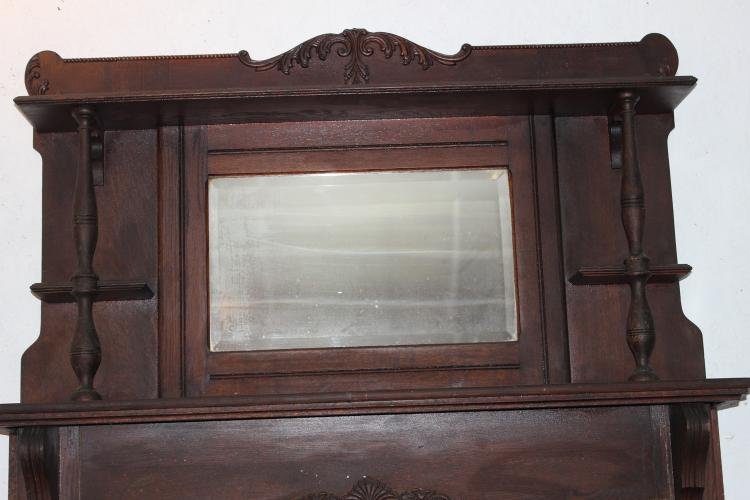 NICE ORIGINAL FINISH OAK FIREPLACE MANTEL WITH GINGER CRESTS - BEVELED MIRROR AND CANDLE STANDS - 78 X 54