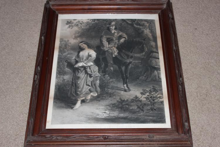 HANDCARVED BLACK WALNUT EARLY FRAME WITH COPY OF PAINTING BY EDWARD CORBOULD - NOBODY AXED YOU SIR 1883 - SUPER CONDITION WITH ORIGINAL FINISH - ORIGINAL COPY - NO REPRODUCTION 29 X 25 X 2.5
