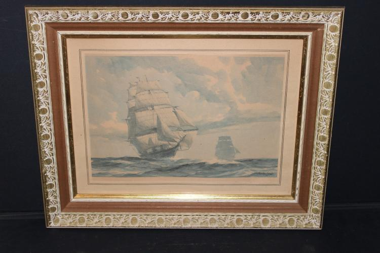 GORDON HOPE GRANT LITHOGRAPH PRINT 1951 - UNUSUAL - SIGNED IN RIGHT-HAND CORNER - ART 13.5 X 9.5 - OVERALL 20 X 16