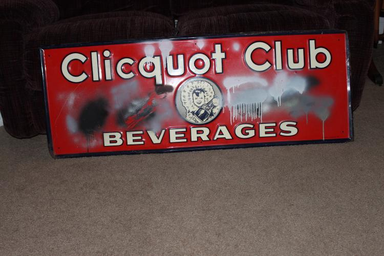 THIS INTERESTING HARD-TO-FIND BEVERAGE SIGN MADE OF SOLID METAL HAS SPLATTERED PAINT THE VERY RESTORABLE - PAINT REMOVES EASY AS PICTURED 48 X 18