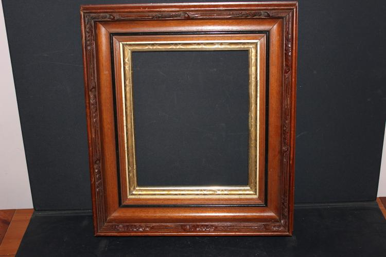 SUPER BLACK WALNUT FRAME WITH CARVED OUTER RIM GUILTED CENTER - LIKE MINT 18.5 X 16.5 X 4