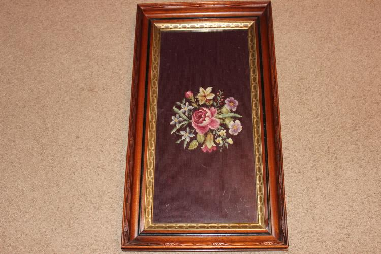 BEAUTIFUL BLACK WALNUT FRAME WITH CARVED FRONT - ORIGINAL BACK AND NEEDLEPOINT UNDER GLASS - MINT 27 X 15