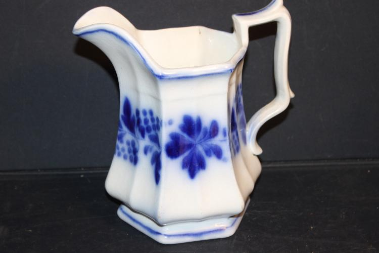 LOVELY FLOW BLUE MILK PITCHER WITH OCTAGON SIDES - EXCELLENT CONDITION 8