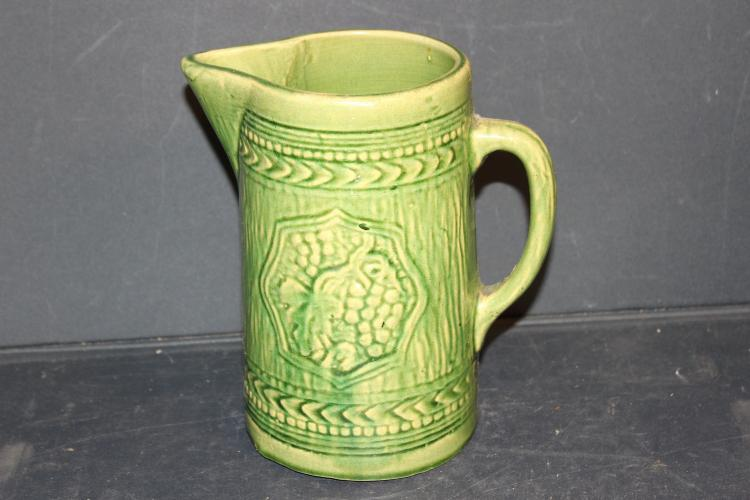 NICE SALT GLAZE STONEWARE DECORATED PITCHER 8