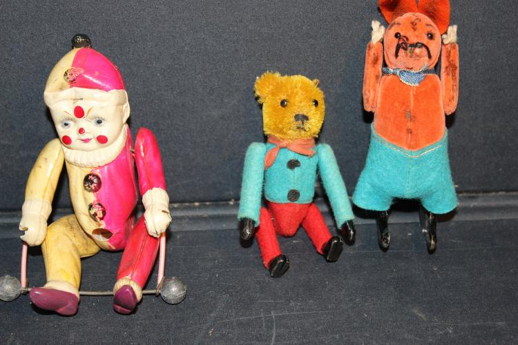 MISC. TOY LOT CELLULOID CLOWN ON TRAPEZE - 2 WINDUP NO KEY
