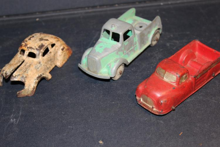 MISC. TOY LOT CAR- IRON GREEN TRUCK METAL RED HARD RUBBER
