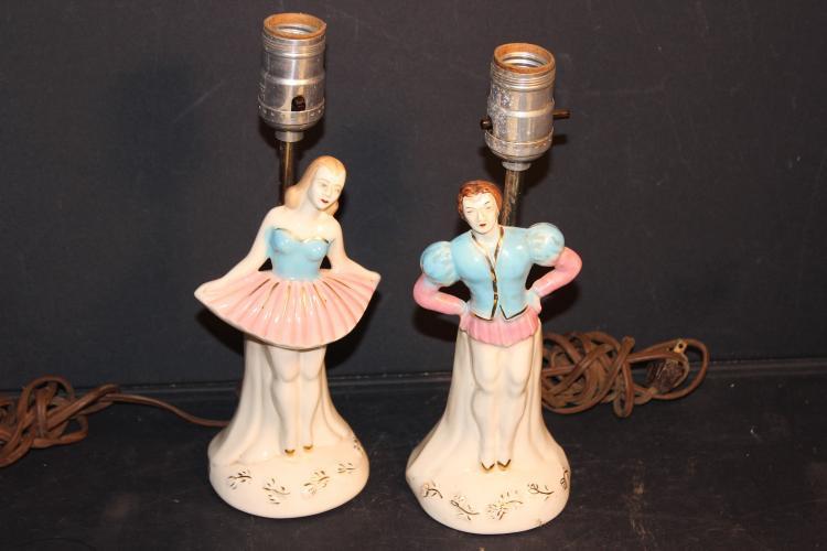 2 PORCELAIN FIGURAL LAMPS NO SHADES