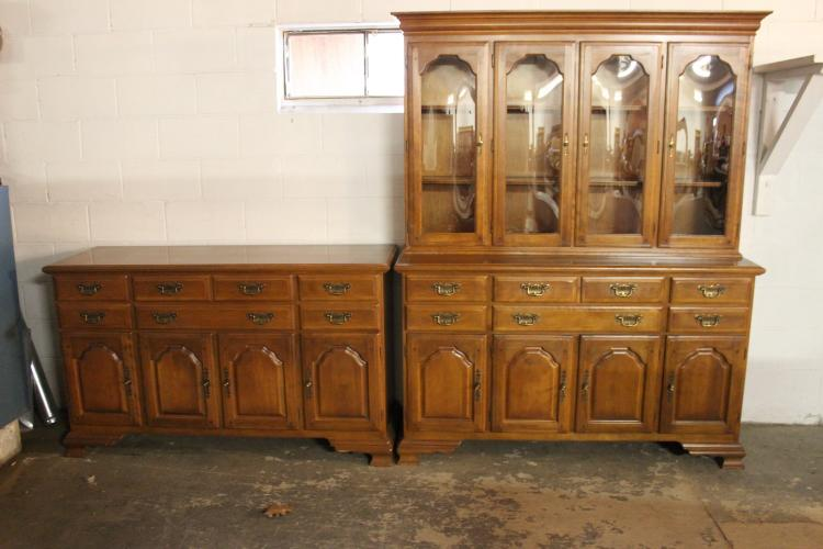 MATCHING 2 PIECE MAHOGANY SIDEBOARD & CHINA CABINET RAISED PANEL IN EXCELLENT COND. - SIDEBOARD 55 X 36 X 19 - CHINA 76 X 59.5 X 19 - WITH BOWED GLASS