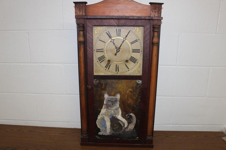 WEIGHT DRIVEN HALL CLOCK 31 X 16 BY WILLIAM, ORTON, PRESTON CO. W/ KEY AND WEIGHTS - NEEDS CLEANING
