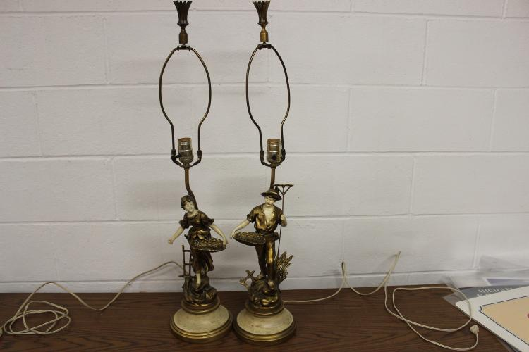 NICE PAIR OF HIS AND HERS LAMPS VERY DECORATIVE - ALL METAL FROM THE 1960S - 32