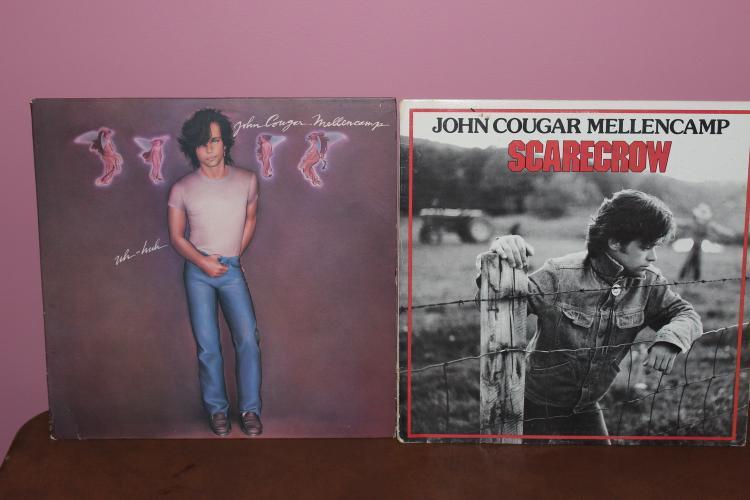 2 JOHN COUGAR MELLENCAMP ALBUMS - SCARECROW 1985 POLYGRAM RECORDS - UH-HUH 1983 RIVA RECORDS