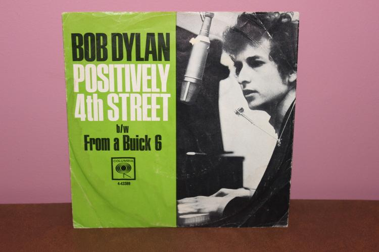 ORIG. COLUMBIA PRESSING BOB DYLAN'S POSITIVELY 4TH STREET WITH COLORFUL PAPER JACKET EXC. COND.