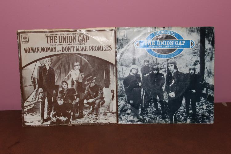 RECORD LOT – THE UNION GAP ORIG. ISSUE- WOMAN WOMAN COLUMBIA 444297 YOUNG GIRL 444450 NEAR MINT