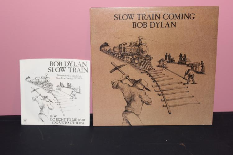 2 RECORD SET DYLAN 45- SLOW TRAIN L.P. SLOW TRAIN COMING BOTH NEAR MINT AND 1979