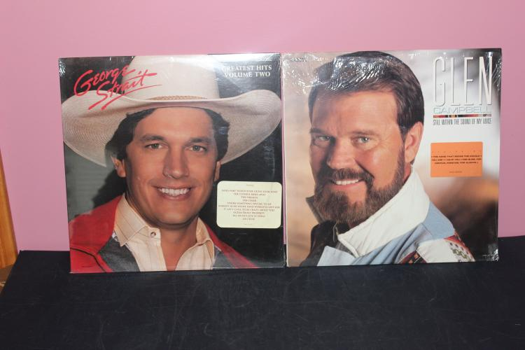 COUNTRY STARS - 2 UNOPENED LP GEORGE STRAIT'S #2 GREATEST HITS 1987 - GLEN CAMPBELL 1987