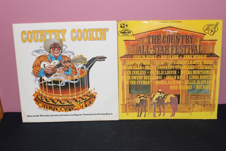 2 ALBUM LOT - COUNTRY ALL STARS 2 LP - LIKE NEW - COUNTRY COOKIN 2 LP SET LIKE NEW GATEFOLD